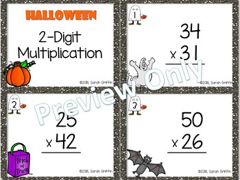 Halloween 2-digit by 2-digit Multiplication Task Cards
