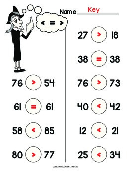 Halloween 2 digit comparison worksheets