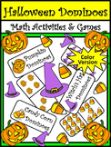 Halloween Math Activities: Halloween Dominoes Math Game Activity Bundle - Color