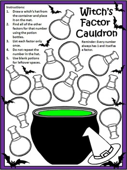 Halloween Math Activities: Witch's Factor Cauldron Halloween Math Activity