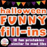 Halloween Activities - Halloween Mad-Libs Style - Halloween Grammar Printables