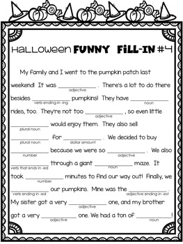 picture about Halloween Mad Libs Printable named Halloween Pursuits - Halloween Insane-Libs Style and design - Halloween Grammar Printables