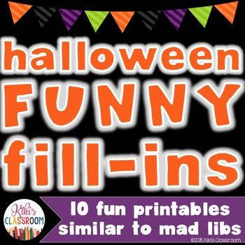 "Halloween Activities - ""Mad-Lib"" Style Grammar Printables"