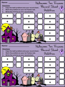Halloween Math Activities: Ghost Halloween Ten Frames Activity Packet