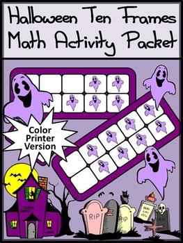 Halloween Math Activities: Ghost Halloween Ten Frames Acti
