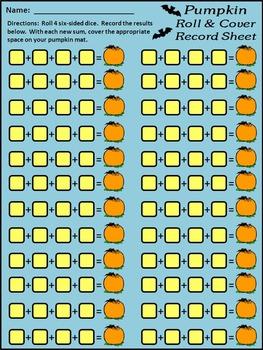 Halloween Math Activities: Pumpkin Roll & Cover Math Activity Packet