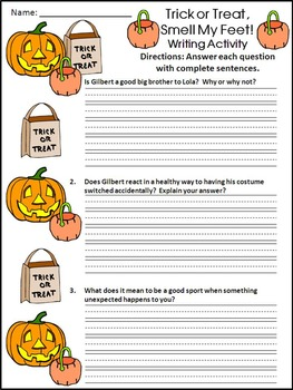 Halloween Reading Activities: Trick or Treat, Smell My Feet Activity Packet