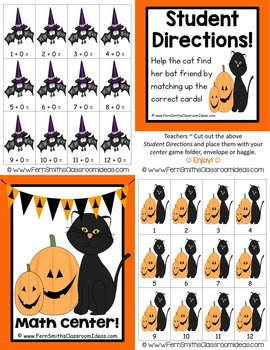 Halloween Quick and Easy to Prep Math Center Game for Addition Plus Zero