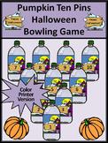Halloween Games: Pumpkin Ten Pins Halloween Bowling Math Game Activity - Color