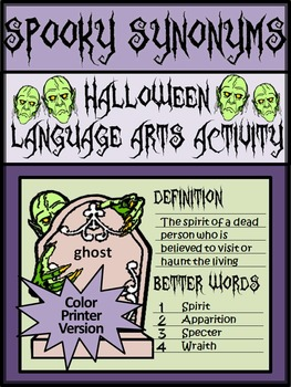 Halloween Writing Activities: Spooky Synonyms Halloween Language Arts Activity