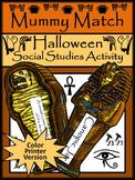 Halloween Social Studies Activities: Mummy Match Vocabulary Game Activity -Color
