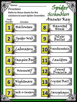 Halloween Activities: Spider Scramblers Activity Packet