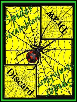 Halloween Games: Spider Scramblers Halloween Language Arts Activity Packet