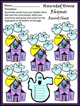 Halloween Phonics Activities: Haunted House Rhyming Words Activity Packet