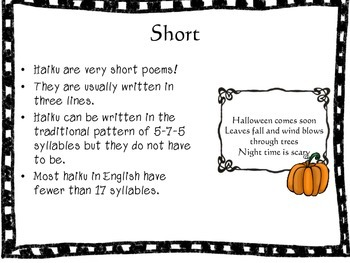 Halloween Haiku - Halloween Poetry - Printables and Power Point Lesson