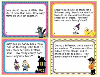 Halloween 2nd Grade Math Word Problems Task Flash Cards - Common Core 2.OA.A.1