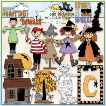 Halloween Clip Art 3 - Trick or Treat Clip Art - Costumes - CU Clip Art & B&W