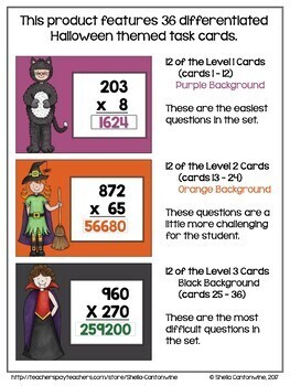 Halloween Math - 3 Digit Multiplication Digital Task Cards - BOOM Cards