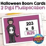 Halloween Math - 3 Digit Multiplication Digital Task Cards - BOOM Cards