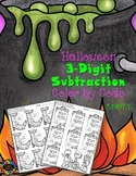Halloween 3-Digit Subtraction with Regrouping Color-by-Cod