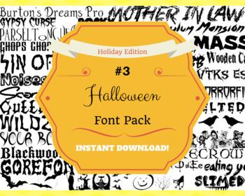 Halloween #3 Font Pack Themed Computer .TTF Font Pack - 36 Styles