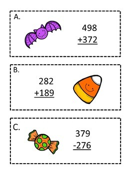 Halloween 3 Math Games Addition Subtraction Round Multiply