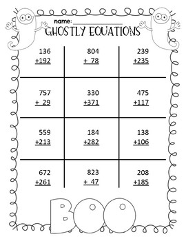 Halloween 3-digit Addition & Subtraction Pages (with regrouping)