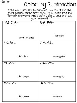 Halloween 3 digit Subtraction Color by Number