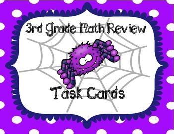 Halloween 3rd Grade Math Review Task Cards