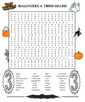 Halloween 3rd Grade Word Search