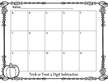 Halloween 4 Digit Subtraction Center