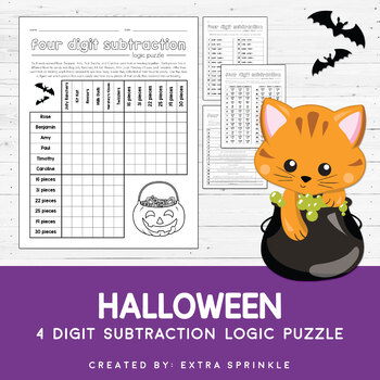 Halloween 4 Digit Subtraction Logic Puzzle