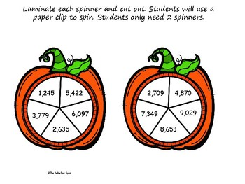 Halloween 4 Digit Subtraction Spinner Game