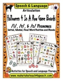 Halloween 4-In-A-Row Game Boards- Articulation