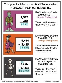 Halloween 4 and 5 Digit Addition Digital Task Cards - BOOM Cards