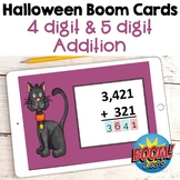 Halloween Math - 4 and 5 Digit Addition Digital Task Cards - BOOM Cards
