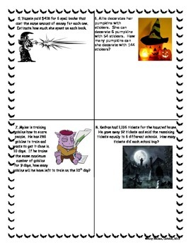 Halloween 4 by 4 Division Bingo-4th grade