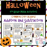 Halloween Math Task Cards 4th Grade - Addition and Subtraction