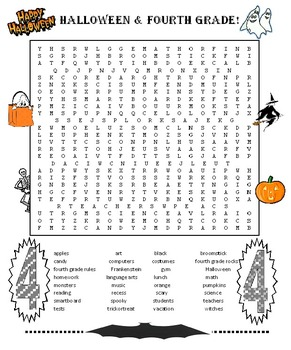 Halloween 4th Grade Word Search