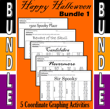 Halloween - Bundle #1 - 5 Coordinate Graphing Activities