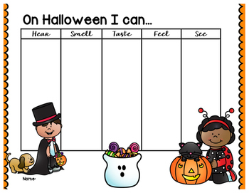 Halloween 5 Senses Graphic Organizer