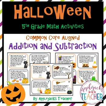 Halloween Math Task Cards 5th Grade - Addition and Subtraction