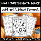 Halloween Math 5th Grade Add and Subtract Decimals Math Maze