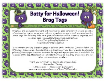 Halloween - A Little Batty! Brag Tags