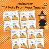 Halloween A Note From Your Teacher