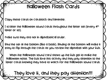 Halloween ABC Flash Cards Capital & Lowercase