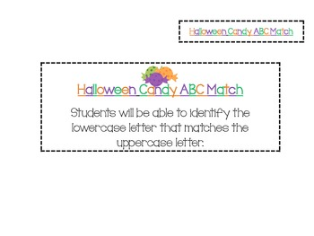 Halloween ABC Letter Match FREEBIE