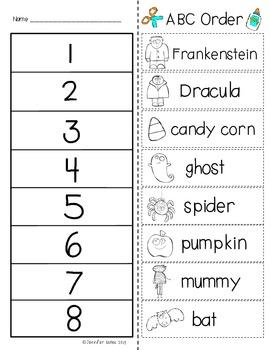 Halloween ABC Order FREEBIE