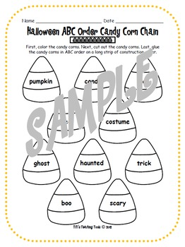 Halloween ABC Order Candy Corn Chain