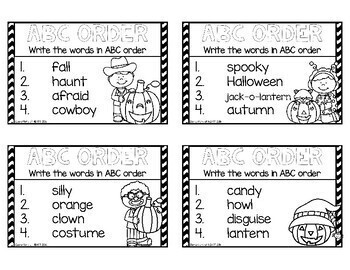 Halloween ABC Order Cards